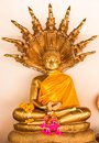Golden buddha with naga behind and flower worship Royalty Free Stock Image