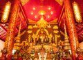 Golden buddha sculptur in church Royalty Free Stock Photos