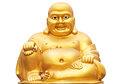 Golden buddha smiling statue isolated on a white background Stock Image
