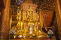 The golden buddha statue in church of wat phumin nan thailand Royalty Free Stock Images
