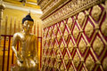 Golden buddha statue in thailand temple of Royalty Free Stock Photos