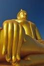 Golden buddha statue at wat muang in angthong thailand Royalty Free Stock Image