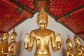 Golden Buddha statues. Royalty Free Stock Photo