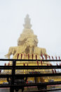 The golden buddha statues in the mist on top of mount emei sichuan china Royalty Free Stock Image