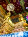 Golden buddha statute and Chief disciple statute. Royalty Free Stock Photo