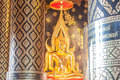 Golden buddha in thailand statue Royalty Free Stock Photography