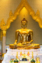 Golden Buddha,Wat Trimit, Bangkok, Thailand. Famous for its gigantic, three-meters tall and 5.5 tons Buddha Image, made of solid