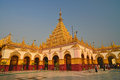 Golden buddhist pagoda maqhamuni paya mandalay myanmar Stock Images