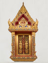 Golden buddhist temple window the in thailand Royalty Free Stock Photography