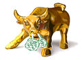 Golden bull illustration of charging with steam coming out of his nostrils Stock Photography