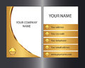 Golden business card gold coloured with front and back designs Stock Image