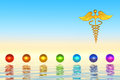 Golden caduceus and chakra spheres rendering of a rod Stock Images