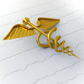 Golden Caduceus on Ecg - Ekg Paper - Medical Concept Illustratio Stock Image