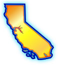Golden California State Map Royalty Free Stock Photography