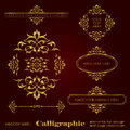 Golden calligraphic elements for design and page decoration - vector set