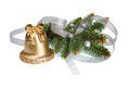 Golden Candle with Xmas Silver Decoration Royalty Free Stock Photography