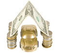 A golden car under garage roof made from banknote Royalty Free Stock Photo