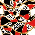 stock image of  Golden chain glamour leopard cheetah seamless pattern illustration. Watercolor texture with golden chains