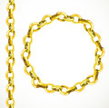 Golden chain seamless line and closed in a circle isolated on white background Royalty Free Stock Images