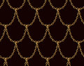 Golden chain seamless pattern on chocolate brown background. Gold Dragon scale art.