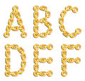 Golden chained alphabet Stock Images