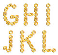 Golden chained alphabet Royalty Free Stock Images
