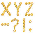 Golden chained alphabet Stock Photography