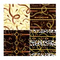 Golden chains and animalistic print vector seamless patterns set. Realistic brown belt with buckle on black background Royalty Free Stock Photo