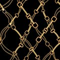 Golden Chains Fashion Seamless Pattern. Fabric Background with Gold Chain. Luxury Design with Jewelry Elements Textile