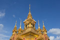 Golden chedi with spear tip top in thailand temple Royalty Free Stock Photo