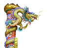 Golden chinese dragon isolated column on white background Stock Photos