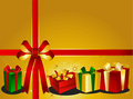 Golden Christmas Backgraound with presents Stock Photo