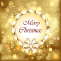 Golden christmas background with bow snowflakes and blurry lights illustration Royalty Free Stock Photo