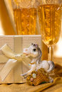 Golden christmas background glasses of champagne and accessories Royalty Free Stock Photo