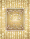 Golden christmas background and label with sale of offer vector illustration Stock Photography
