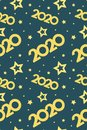 2020 golden christmas background and stars vertical seamless pattern blue Royalty Free Stock Photo