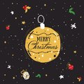 Golden christmas ball in cartoon style. Christmas decorations with the inscription `Merry Christmas`.