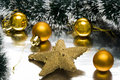 Golden Christmas balls Stock Photography