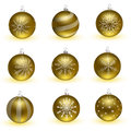 Golden Christmas balls. Set of isolated realistic decorations