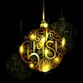 Golden christmas bauble vector illustration of Royalty Free Stock Images