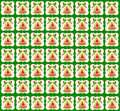 Golden christmas bell wallpaper green background illustration with pattern doradaof and red bow she is on the image of a child Stock Images