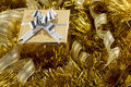 Golden christmas box Royalty Free Stock Image