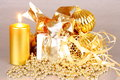 Golden Christmas decoration with candles Royalty Free Stock Image