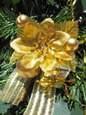 Golden christmas decoration on tree Royalty Free Stock Images