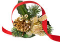 Golden Christmas Decorative Object and Red Ribbon Royalty Free Stock Photo