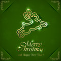 Golden christmas deer on green background with floral elements illustration Royalty Free Stock Photography