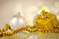 Golden Christmas gift Royalty Free Stock Image