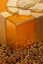 Golden Christmas gift box Royalty Free Stock Photos