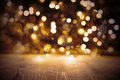Golden Christmas Lights Background, Party Texture With Wood Royalty Free Stock Photo