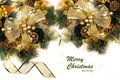 Golden christmas and new year decorations in gold green Stock Images